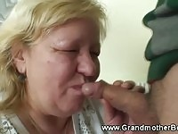 Friendly granny allowing young cock to fuck her mouth